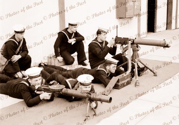 Navy - machine gun practice. c1940s. SA South Australia