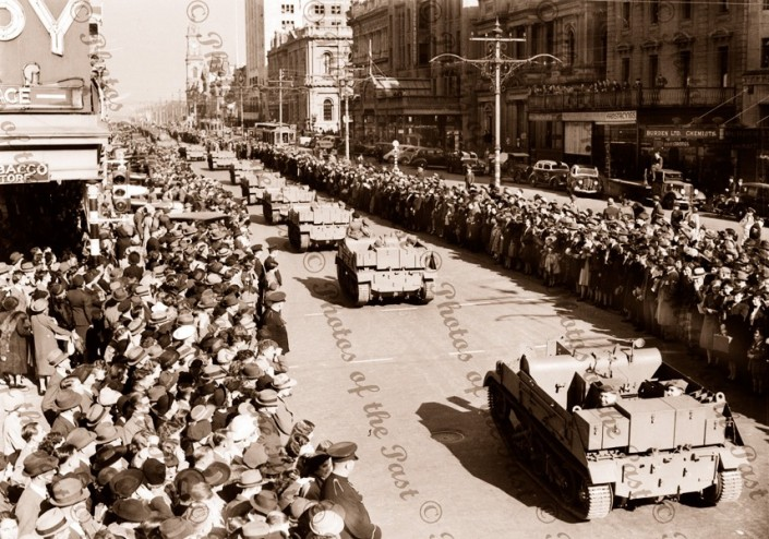 Parade of armoured vehicles, King William St, SA c1940s South Australia