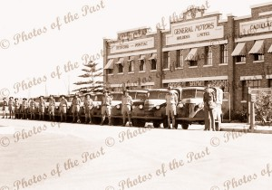 Army vehicles ready for delivery.Gen Motors Holden, Birkenhead, SA South Australia c 1940s