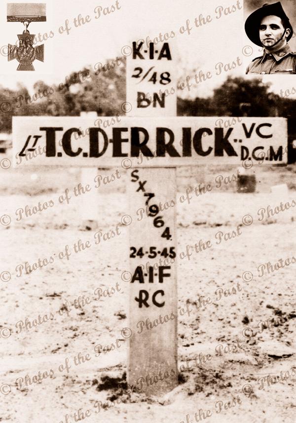 T.C.Derrick's grave at Borneo, portrait & Victoria Cross. c1940s