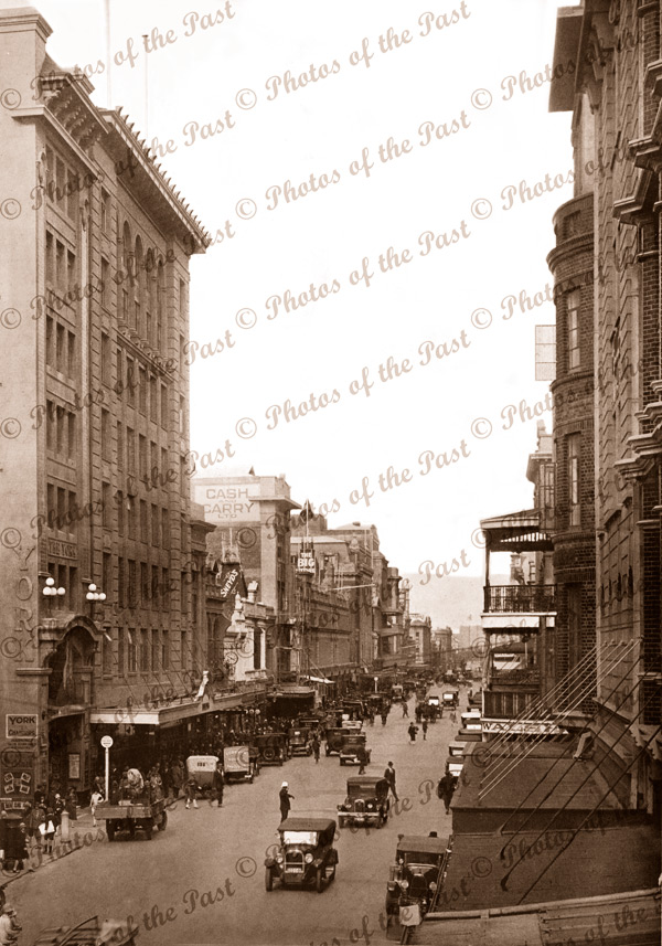 Rundle Street Adelaide looking east from Gawler Place, SA 1929 South Australia, cars