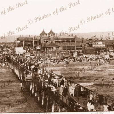 Henley Beach showing large crowd on jetty , South Australia. Pier.Feb. 3 1923 beach