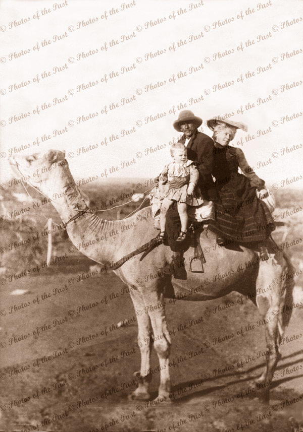Family aboard their camel. 1905