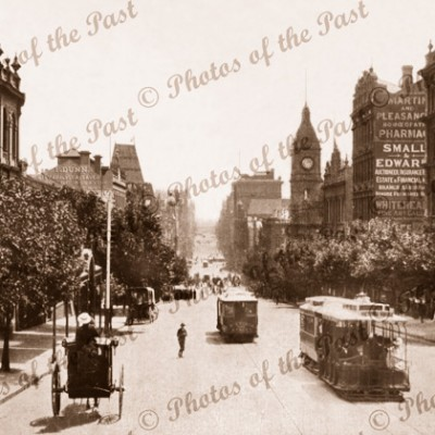 Collins St,Melbourne,Vic.Looking west from Russell St. Victoria c1890s, trams, carriages