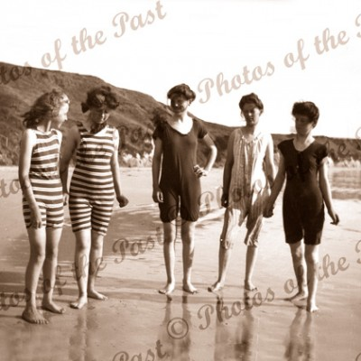 Beach Girls at Port Noarlunga SA South Australia. Swimming costumes, bathers. c1920s