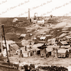 View to Commercial Hotel & mines beyond, Clunes, Vic. c1861 Victoria. Mining