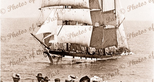 4M Barque FALLS of HALLADALE Wrecked at Peterborough Vic.1908. Ship. Victoria. Great Ocean Road. Photograph by Charles Richard Hurschell.