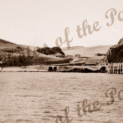 Second Valley Beach from the sea, Jetty on right. SA. South Australia. Pier 1954
