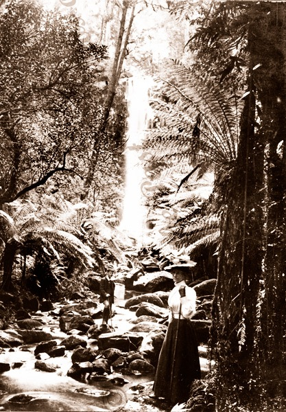 The Erskine Falls at Lorne, Vic. ex George Rose Stereo. Victoria. Woman. Great Ocean Road c1900s