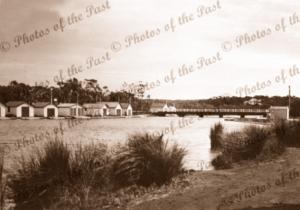 Anglesea River, Anglesea, Vic. c1940s. Victoria. Boat Sheds