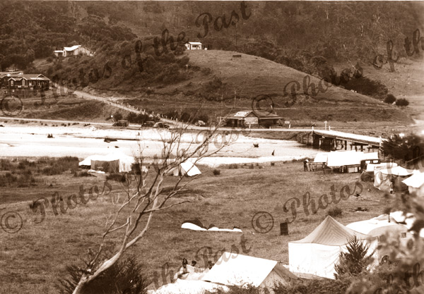Camping Grounds & Bridge at Wye River, Vic. c1940s Victoria. Great Ocean Road