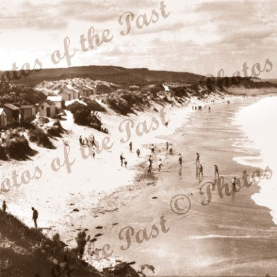 The bathing beach at Anglesea, Vic. c1940s. Victoria, Great Ocean Road