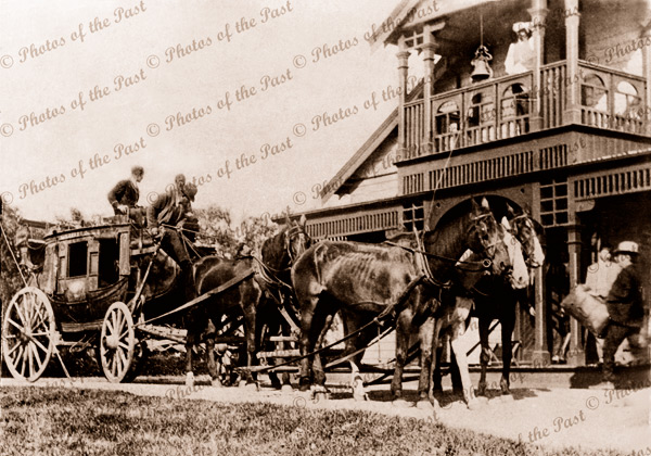 Cobb & Co coach at Anglesea Hotel, Vic.Victoria Great Ocean Road 1908 horses