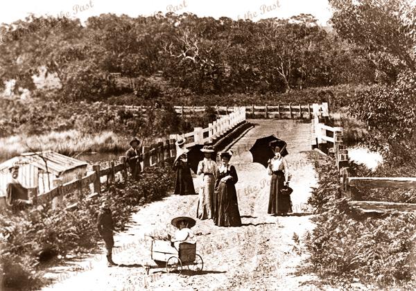 Mawson family, west of Anglesea River Bridge, Vic. Victoria, Great Ocaen Road 1904