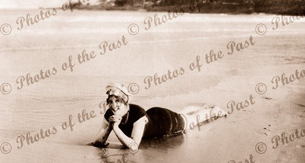 In the shallows. A bathing beauty at Lorne, Vic.1919. Great Ocean Road