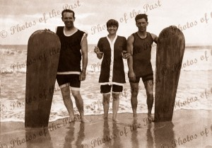 Surfies with their boards at Lorne Vic.1919. Victoria. Great Ocean Road