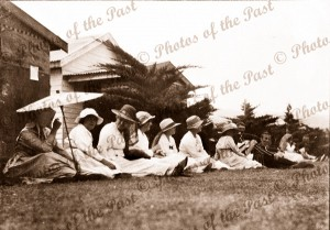 Watching a Tennis Tounament at Lorne, Vic.1919. Victoria. Great Ocean Road, ladies