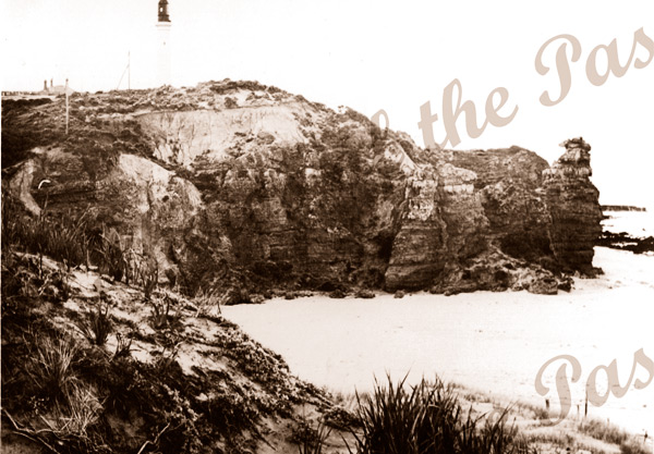 View to Split Point Lighthouse from Fairhaven dune, Vic. c1910s. Victoria. Great Ocean Road