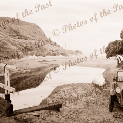 An early view of Moggs Creek near Aireys Inlet, Vic. c1930s. Victoria. Great Ocean Road. Car