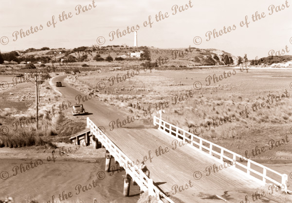 Bridge over Painkalac Creek, Aireys Inlet. c1950s. Victoria. Great Ocean Road.