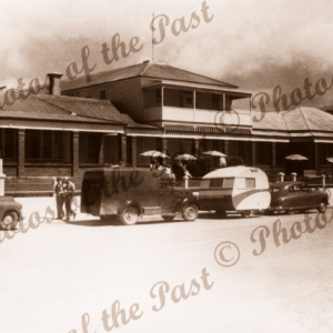 Apollo Bay Hotel, Apollo Bay, Vic. c1950s. Great Ocean Road. Victoria. Caravan.