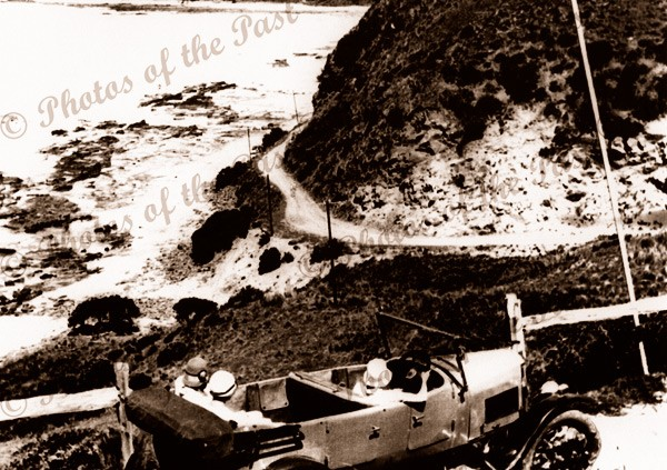 Big Hill. The Great Ocean Road, Vic. (with car). Victoria. c1920s
