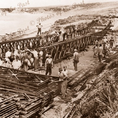 Temporary 'Bailey' bridge being erected Hutt Gully near Anglesea, Vic.1953. Great Ocean Road. Victoria.