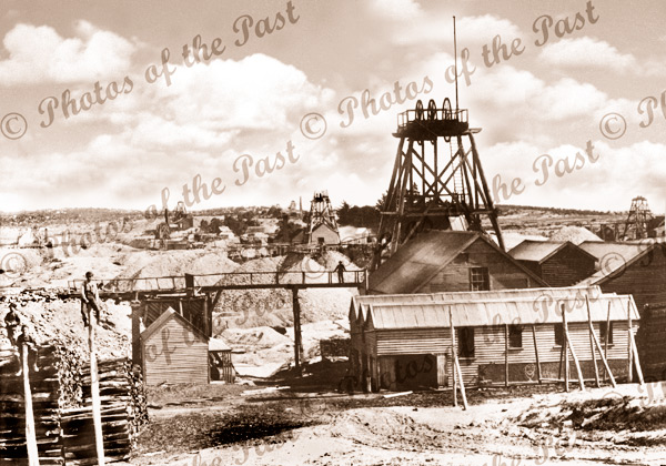 View South from Sovereign Hill Ballarat Vic. New Normandy mine f'ground 1907. Victoria.