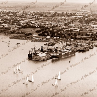 Aerial view across Yarra Pier to Geelong township, Vic. Victoria 1930s ships