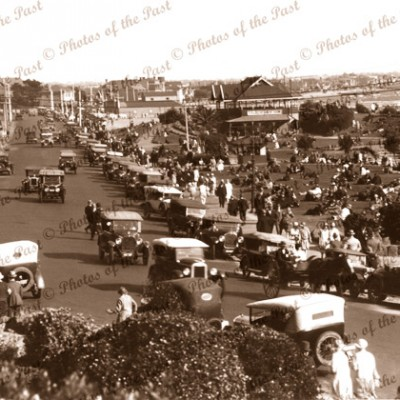 A fine Afternoon St. Kilda, Vic. Victoria. c1920s.Cars.