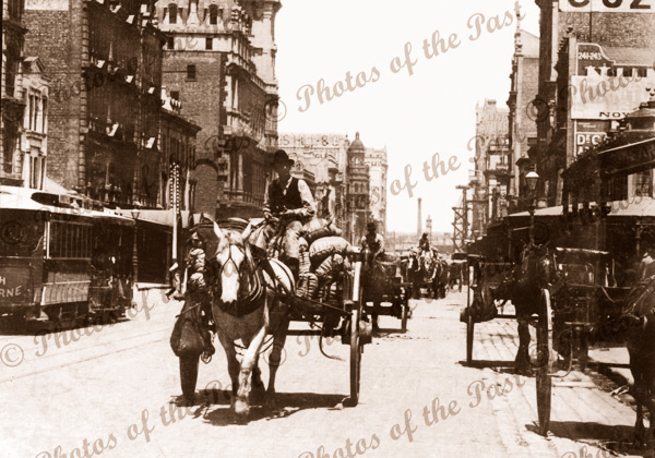 Elizabeth Street, Melbourne.Vic. (horizontal) c 1900s. Victoria. Horse and carriage