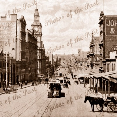 Bourke Street, Melbourne. Looking east, GPO on left, Vic.Victoria. c 1890s. Horse and carriage. Trams