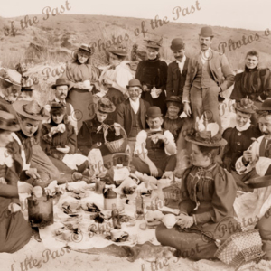 A Picnic at the beach, Normanville, SA c1900. South Australia.