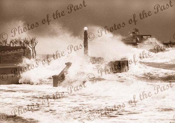The big storm, Glenelg SA. 11 April 1948. South Australia. Ocean