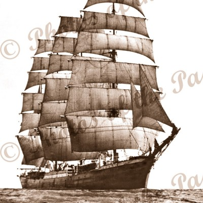 4 Masted barque PASSAT under sail. Shipping. c1930s