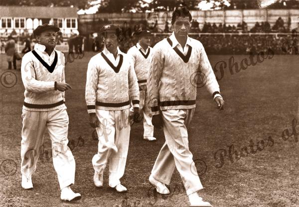 Invincible players, Bradman, Hassett & Toshack, Worcester, UK. 28 April 1948. Cricket. United Kingdom. Australian cricket team.