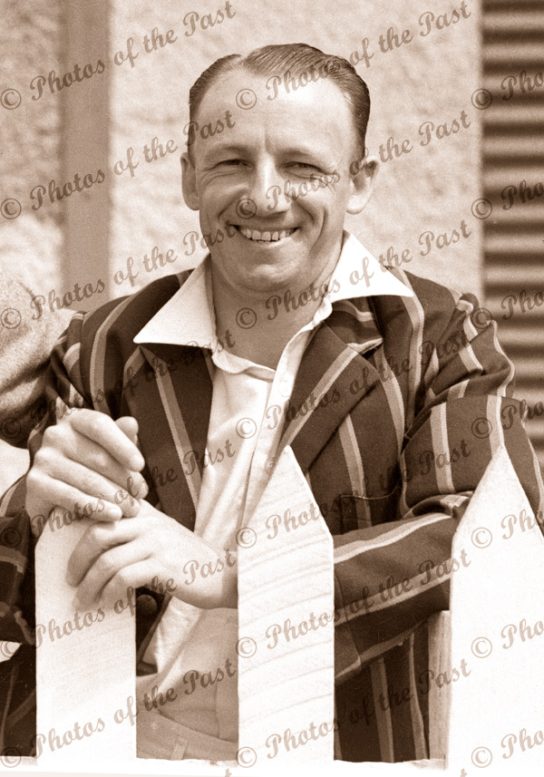 Don Bradman at Adelaide Oval. (picket fence) c1930s