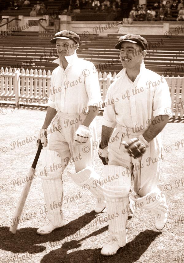 Don Bradman & C.L.(Jack) Badcock (SA & Test players) Dec 1935 Australian cricketers