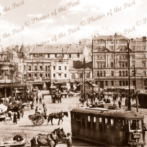 A busy scene at Circular Quay, Sydney, NSW. c1900s. New South Wales. Trams. Horses and carriages.