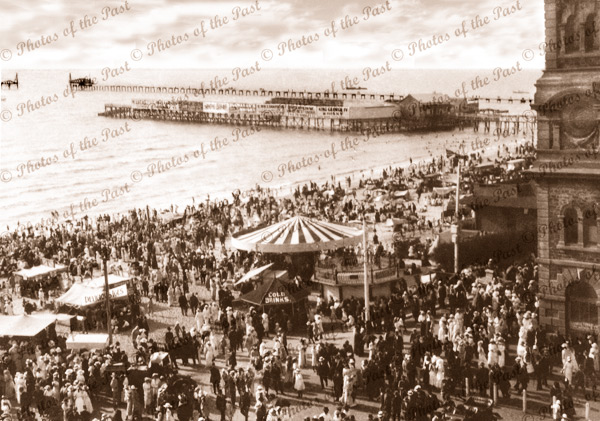 View from Pier Hotel, Glenelg to Baths and third jetty beyond. SA. 1914. South Australia.