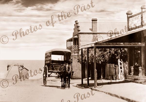 Jetty Rd, Brighton SA, c1900. South Australia, Horse and carriage. Pier