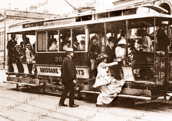 Brisbane tram, Qld. c1900. Queensland.