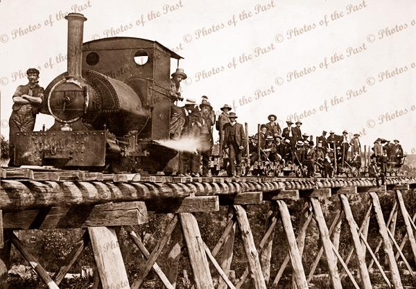 Walhalla Rail Line and workers, Vic.c1900. Victoria. Steam engine. Bridge