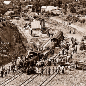First train to Walhalla, Vic. 1910. Rail. Victoria.
