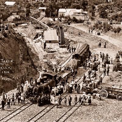 First train to Walhalla, Vic. 1910. Rail. Victoria.