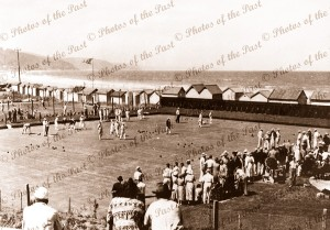 Bowling Green & bathing boxes at Lorne, Vic. c1920s. Lawn bowls. Great Ocean Road. Victoria