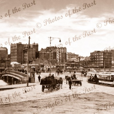Queen's Bridge, Melbourne, looking north, Vic.c1890s. Victoria