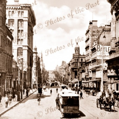 Collins St, Melbourne, looking east from Stock Exchange, Vic.c1890s trams horse carriage