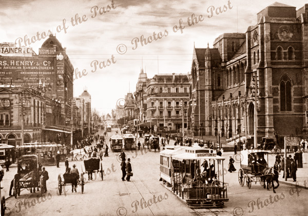 Swanston St,Melbourne,Vic.,looking north from Flinders St. c1890s trams, horse and carriage. Victoria