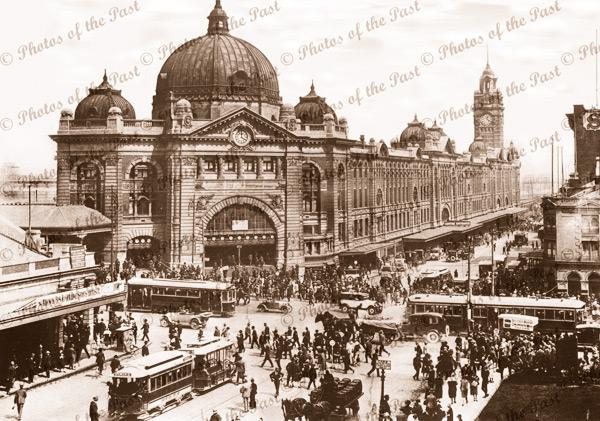 Flinders St Railway Station, Melbourne, Vic.Victoria. c1910s. Trams